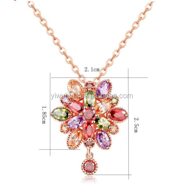 KS018 Huilin Jewelry Mona Lisa CZ Statement Necklace Multicolor Oval Rose Gold Color Crystal Party/Wedding Jewelry For Women