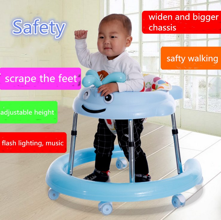 rollover prevention baby walker with flash lighting music adjustable baby carriage