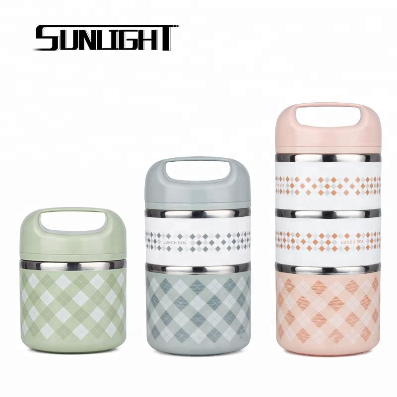 Portable insulation layered heating lunch tiffin box keep food hot with high grade PP