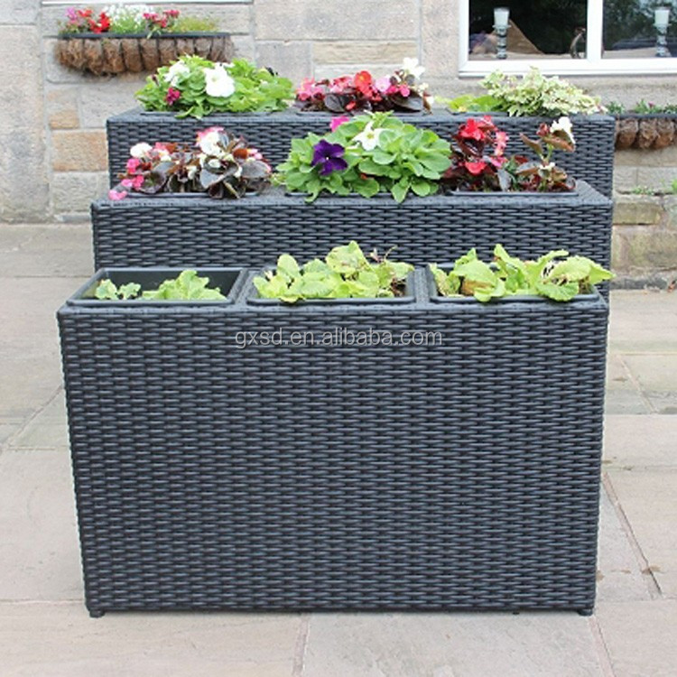 Wholesale Tall Rectangular Shape Outdoor Patio Rattan Planter Boxes