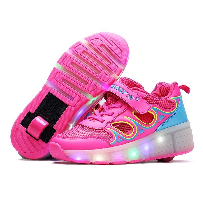 EU Size 28-40 New 2016 Child Heelys Girls Boys LED Light Heelys Roller Skate Shoes For Children Kids Sneakers With Single Wheels