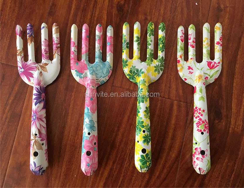 Promotional Ladies New Design Carbon Steel Floral Printed Garden Hand Forks for Gardeners