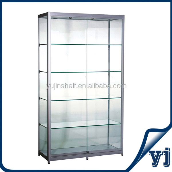 Black Retail Lockable Glass Display Cabinets With Lockable Storage ...