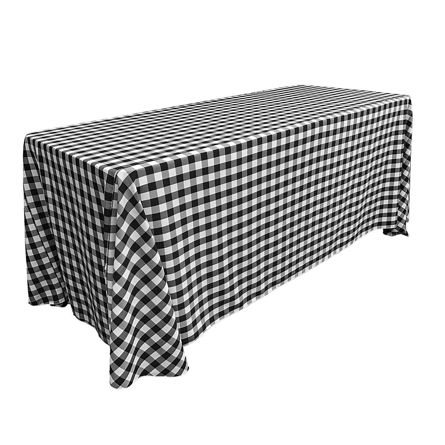 """LA Linen 90"""" by 132"""" Rectangular Polyester Checkered Tablecloth / Rounded Corners / Pack of 1 / White & Black"""