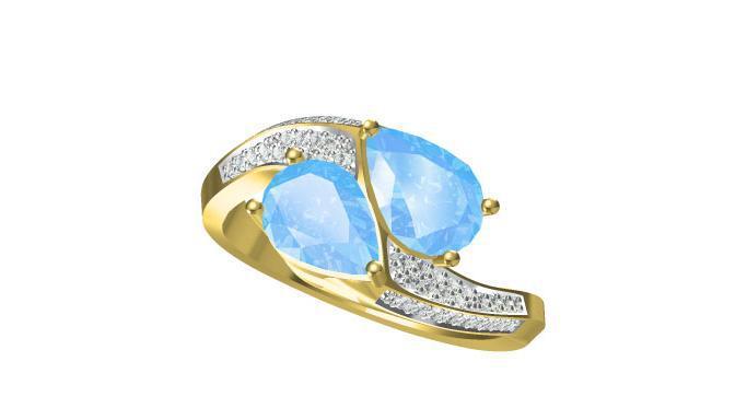 14k Yellow Gold Aquamarine And Diamond Two Head Twist Prong Set ...