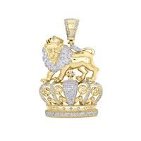 Hip hop jewelry pendant lion on crown pendant