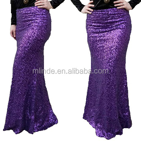 Wholesale Black Silver Gold Stretchy Pencil Sequin Skirt Knee Length Skirt