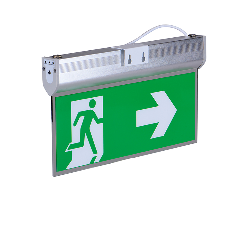 Fire exit running man right safety sign photoluminescent