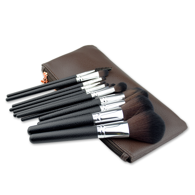 12 Pieces High Quality Black Handle Makeup Cosmetic Brush Set with Cute Bag