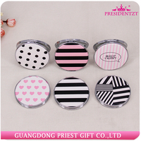 Unique PU Leather Double Sided Travel Round Makeup Mirror