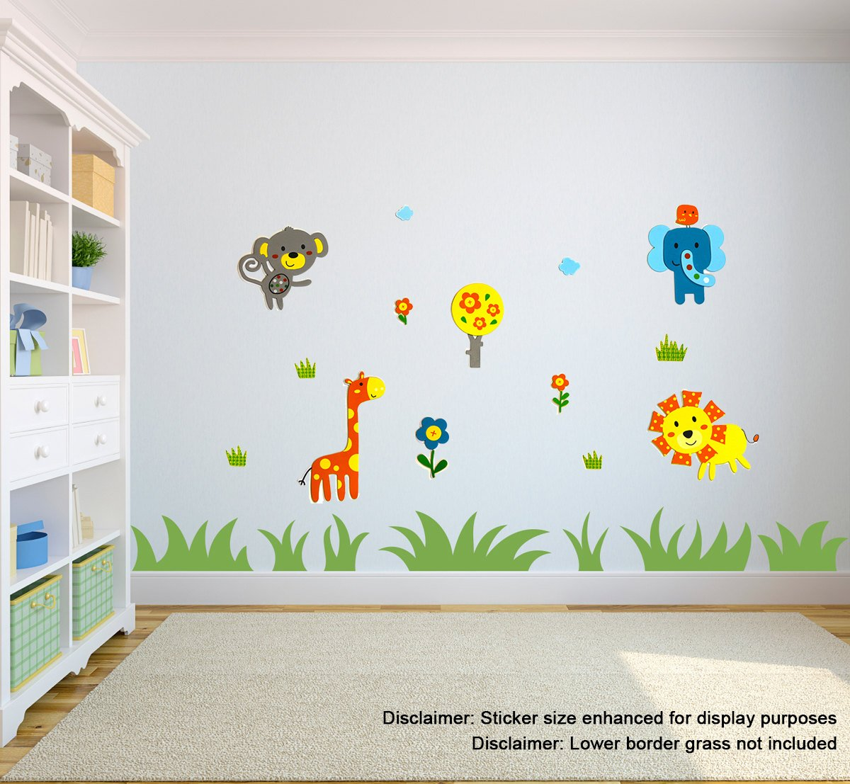 14 Premium 3D Wall Decals - Safari Animals 1 - Eco-Friendly - Reusable - Long Lasting - Easy Stick - Colorful - Foam Stickers - Kids Room Decals - Educational Sticker Decals - Nursery Baby Decor
