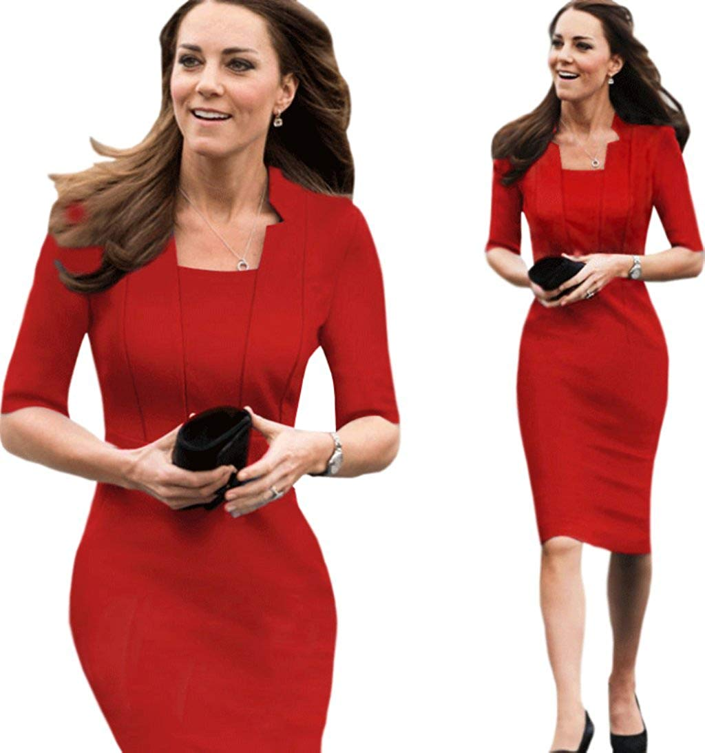 e89f72616ced Get Quotations · Unomatch Kate Middleton Wrinkle Based Top Collar Neck Knee  Length Dress Red