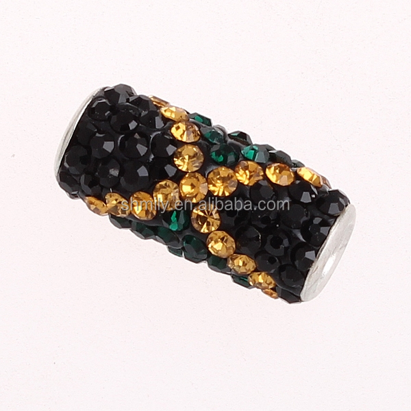 Wholesale New Arrival Cystal Pave Tube Jamaica Flag Beads CTB-S004