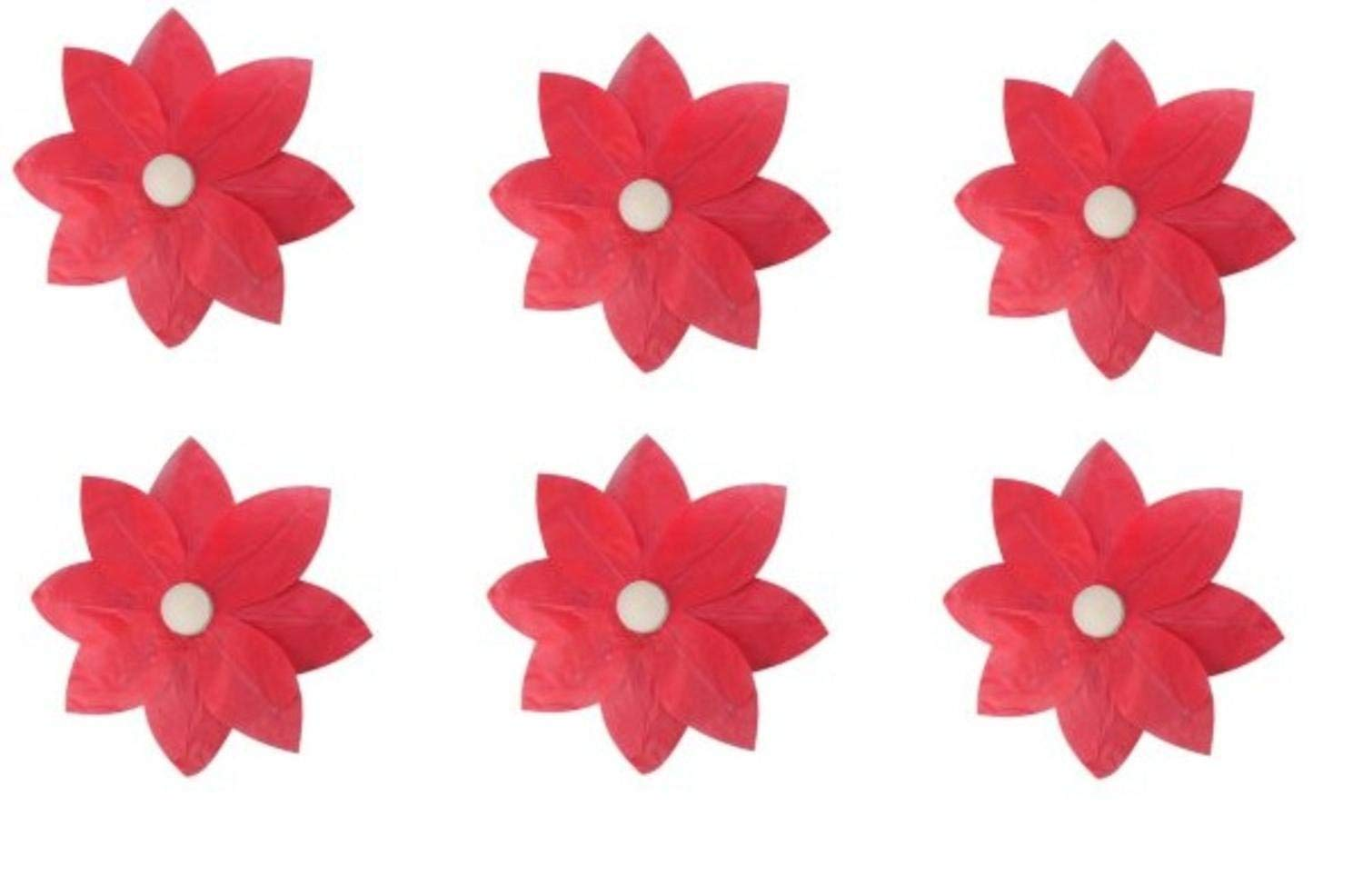 Pack of 6 Red Floating Lotus Paper Flower Outdoor Patio Decor Lanterns