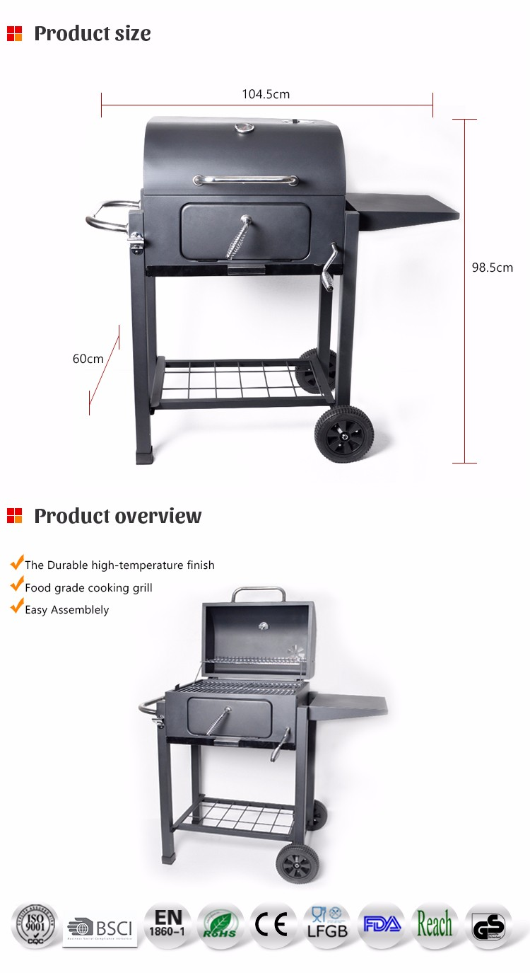 Easily Assembled And Cleaned Big charcoal bbq grills With Trolleys rectangular charcoal grill