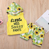 Hot sell summer Casual Hooded baby Girls boys Clothes yellow printing children's Boutique clothing sets