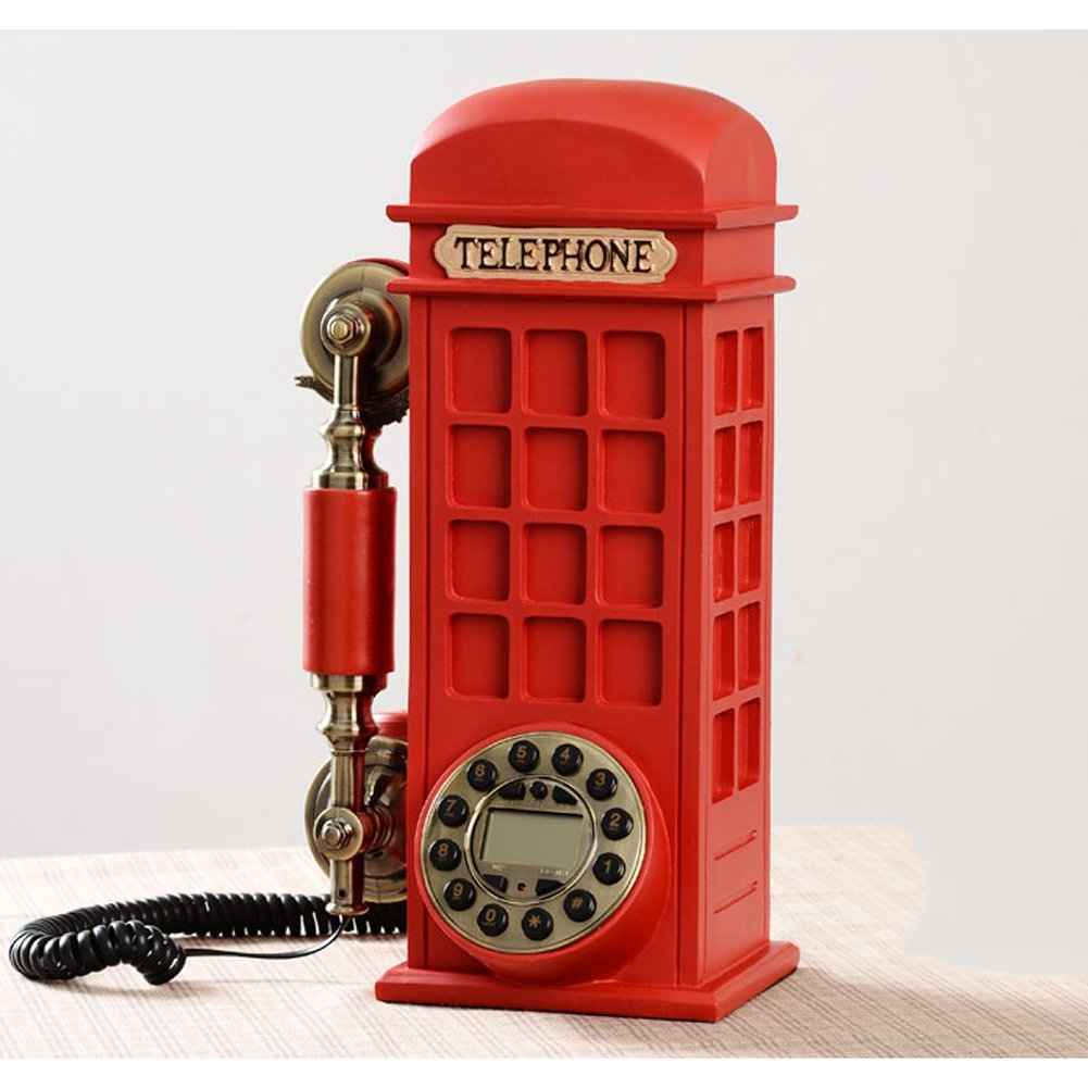 XKS Retro Landline Phone Fashion Creative Personality Telephone Booth Continental New American Home Antique Fixed Telephone