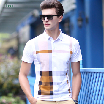 988823c68f2 2018 summer new style business casual men s printed plaid t- shirts