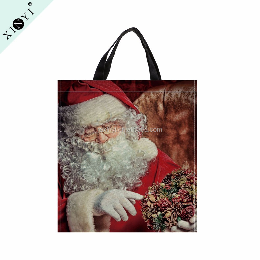 Eco friendly reusable shopping bag customized Santa Claus printed souvenir tote bag non woven fabric bag