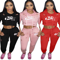 2019 hot sell women clothing 3colors cut out crop top hoodie sweatsuit tracksuit 2 piece outfit two piece set