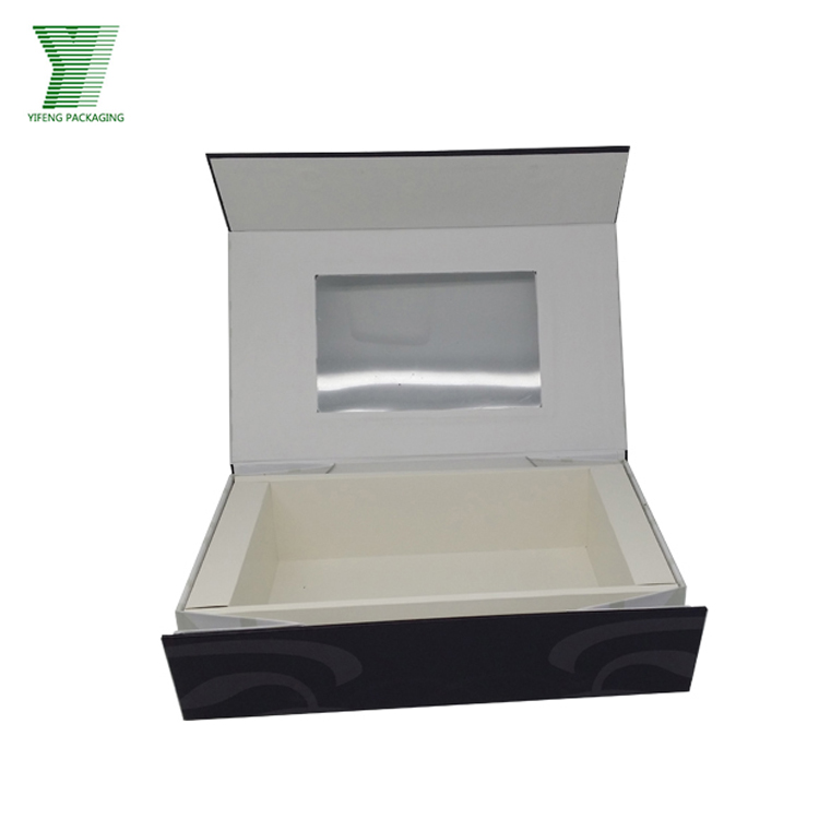 custom print luxury black paper cardboard with clear pvc window gift box
