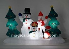inflatable snowman and christmas tree