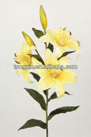 flower top seller artificial silk yellow tiger lily