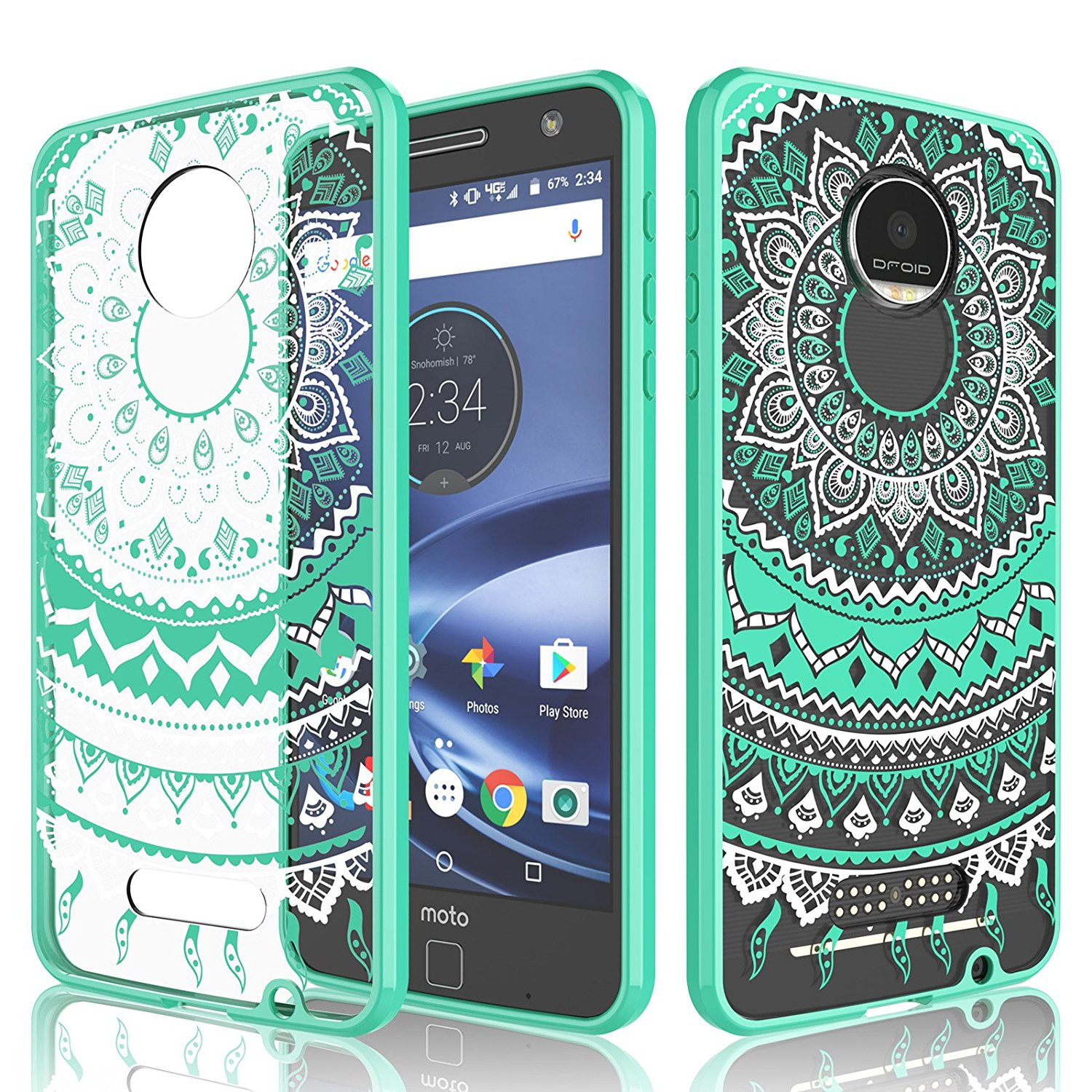 Moto Z Play Case, Motorola Moto Z Play Case For Girls, Tekcoo [TFlower] Transparent Cute Shock Absorbing Ultra Thin Clear Hard TPU Skin Scratch-Proof Bumper Cases For Moto Z Play Droid -Turquoise