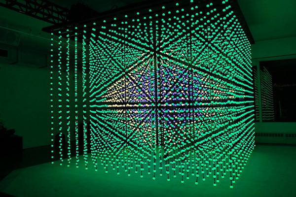 Full Color 3d Led Cube For Indoor Hanging With Sd Card