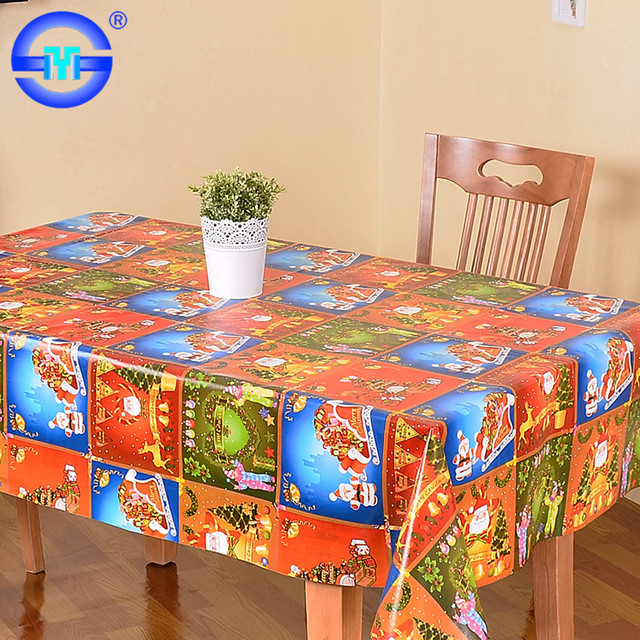 Factory Directly 0.08mm Cheap Vinyl Tablecloth Pvc Table Cover 180cm Square  Christmas Tablecloth