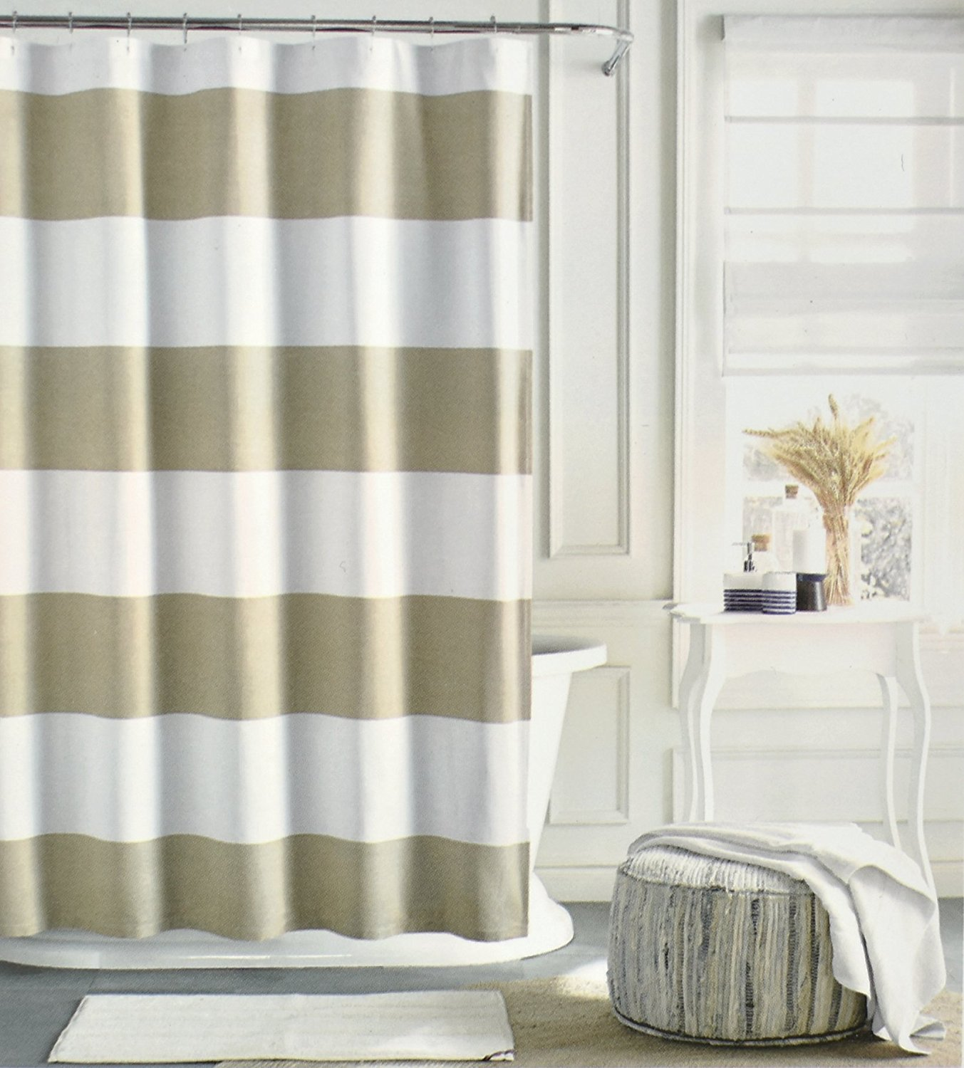 Get Quotations Tommy Hilfiger Cotton Shower Curtain Wide Stripes Fabric Beige Tan Cabana Stripe