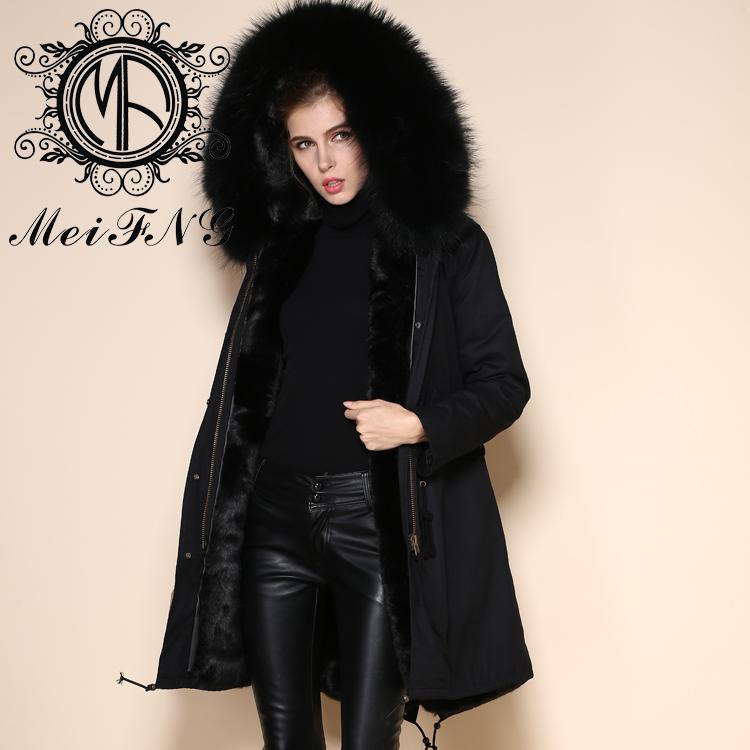 Nobel Design Rabbit Fur Lining Real Fur Hooded Winter Fur Coat Men ...