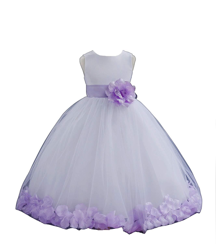e3558abaa9b Get Quotations · ekidsbridal White Floral Rose Petals Flower Girl Dress  Birthday Girl Dress Junior Flower Girl Dresses 302s