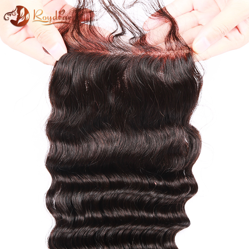 Hot sale Deep Wave Virgin brazilian Human hair cheap lace closure, Natural Color