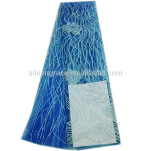 Guangzhou wholesale blue african lace fabric for wedding dress