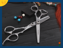 right handed handle hair cutting scissors with engraved handle Chinese manufacturer hair cutting and thinning shear