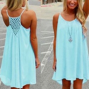 Womens Spaghetti Strap Back Howllow Out Chiffon Beach Short Dress
