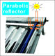solar heat collector with parabolic trough