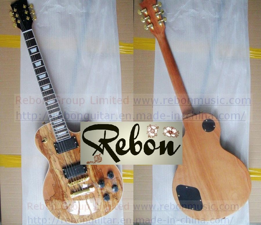 Weifang Rebon Spalted Maple LP Electric Guitar In Nice Colour