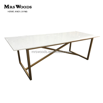Modern Trestle White Marble Top And Gold Stainless Steel Frame Cross ...