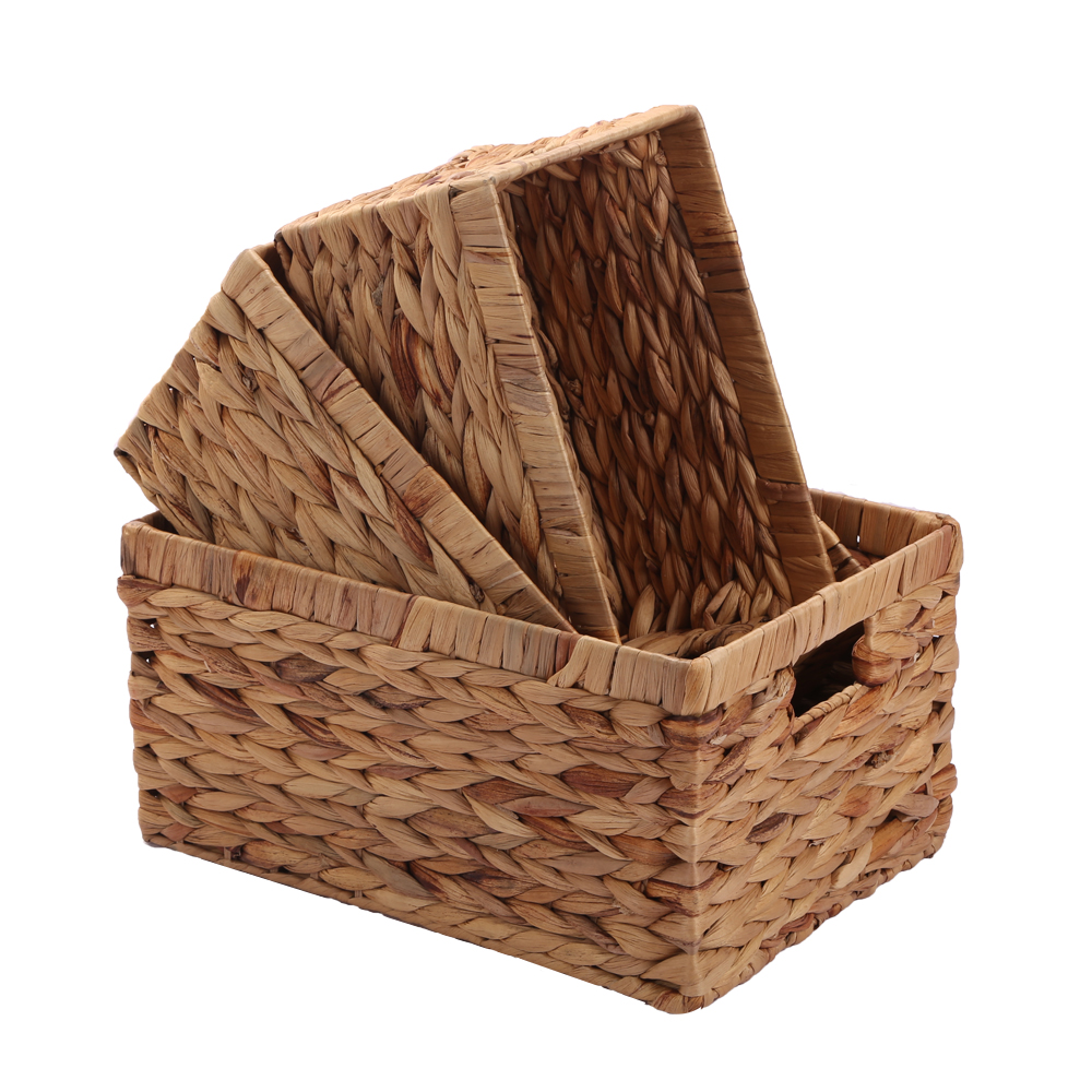 Kingwillow,Woven Natural Water hyacinth Rectangular Storage Baskets Bins Organizer Container Box with inside Handle(Large, TypeP