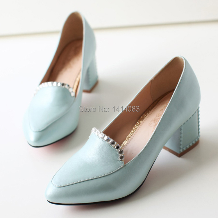 a29422d5a192 Buy South Korean sweet style sexy pointed toe pumps fashion rhinestone  adornment white blue pink high heels big size women shoes in Cheap Price on  ...
