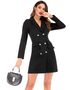 New Hot Fashion Clothes Women Double-breasted Gold Button V-neck Suit coat Outdoor Women's Wear Dress