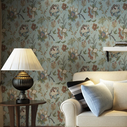 Home Wallpaper Decor: Vintage Flower Floral Wallpaper Roll For Walls Dark Green