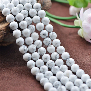 NB0015 Natural Stone Bead 4mm 6mm 8mm 10mm loose bead Turquoise white Howlite stone