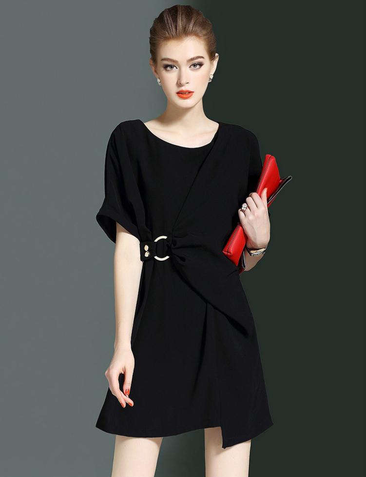 0be887d80c8 Elegant ladies bat-wing short sleeve slim girl elastic knit sweater dress