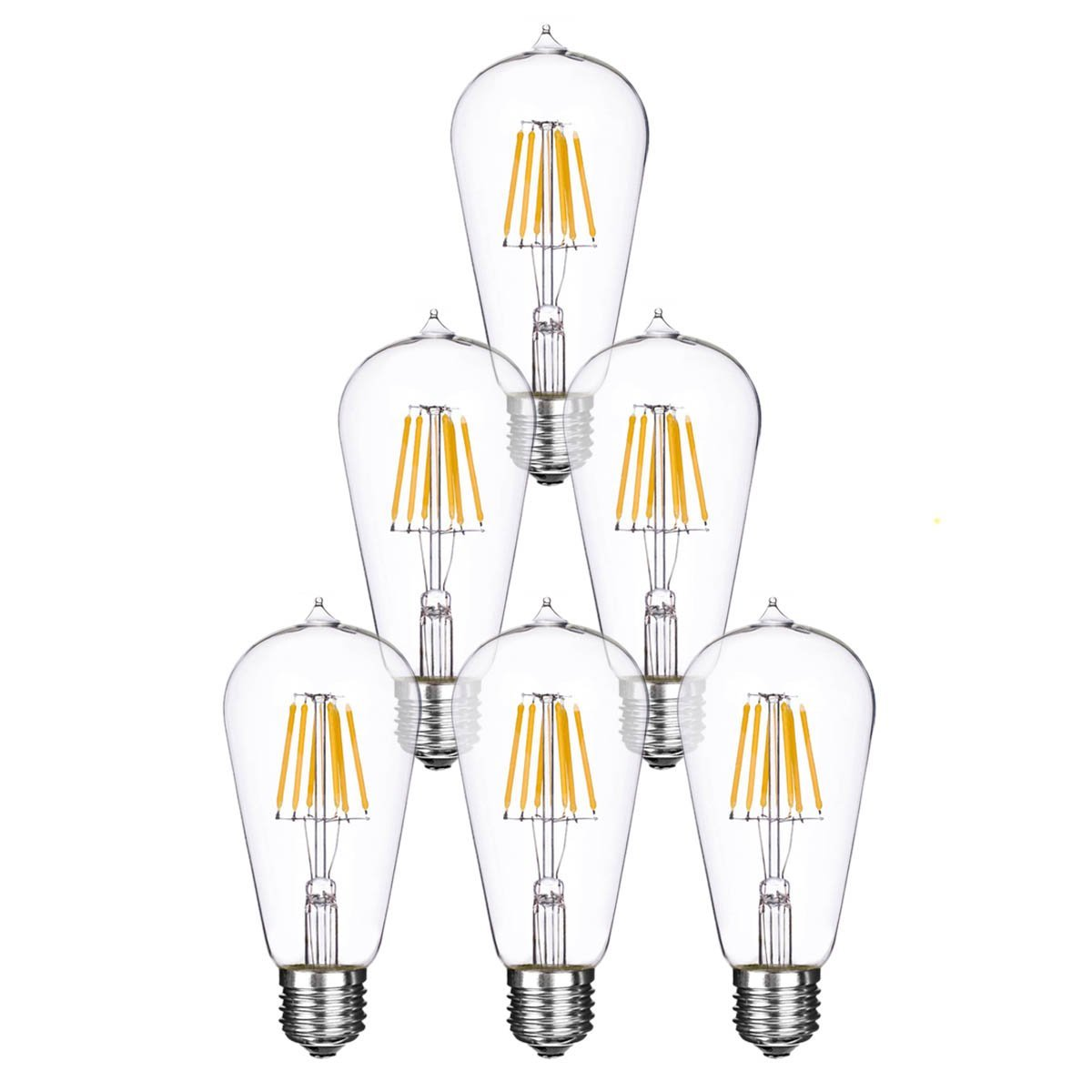 Homestia LED Non Dimmable ST58 4W 110V E26 Warm Lighting Filament High Operating Life 2700-3000K Edison Style Bulb(6 pack)