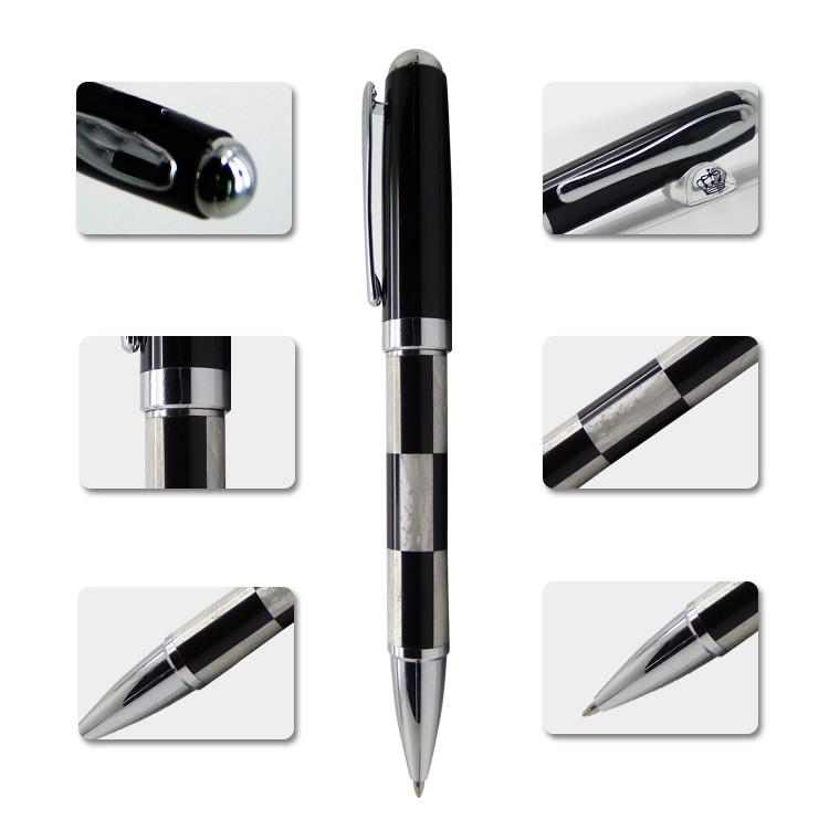 Elegant black and white metal business gift pen company logo printed metal ball pen