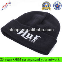 Custom made slouchy beanie 100 acrylic black custom embroidered mens beanie hats