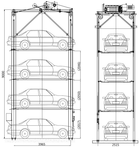 4 Post Stack Parking System Multi-level Car Storage Car Parking Lift System  Commercial Car Parking Lift System - Buy Multi-level Car Storage Car